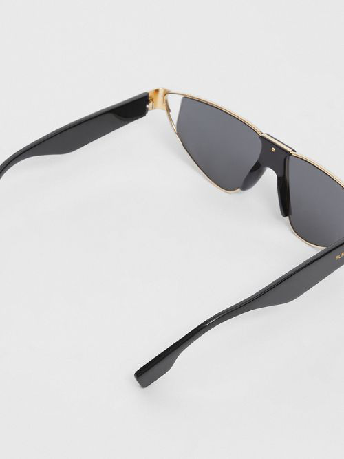 8df9f86accf3 Burberry Gold-Plated Triangular Frame Sunglasses In Black | ModeSens