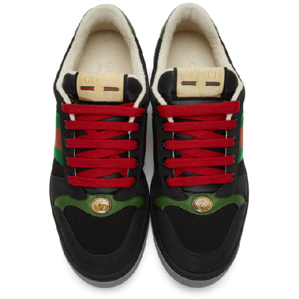 Gucci Screener Webbing-Trimmed Leather, Suede And Canvas Sneakers In Black