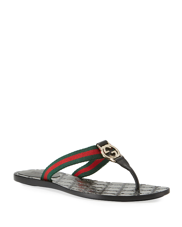 Gucci Leather & Nylon Thong Sandals In Black
