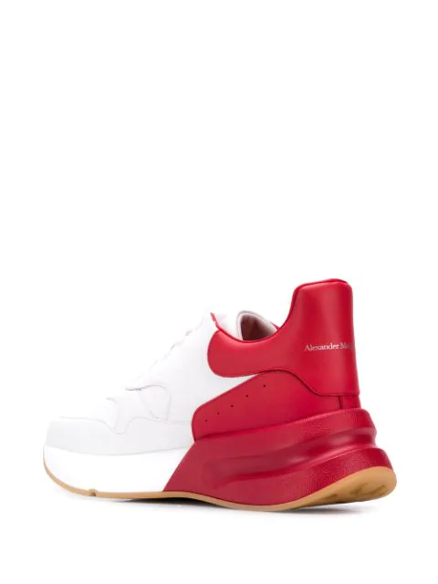 Alexander Mcqueen Men's Oversized Colorblock Leather Low-Top Sneakers, White/Orange In 9092 White Red
