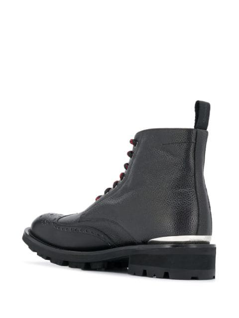ALEXANDER MCQUEEN LOGO PLAQUE LACE-UP BOOTS