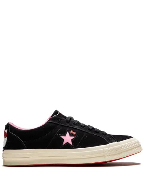 Women's One Star Ox Hello Kitty Casual Shoes, Black In Blackprism Pinkegret