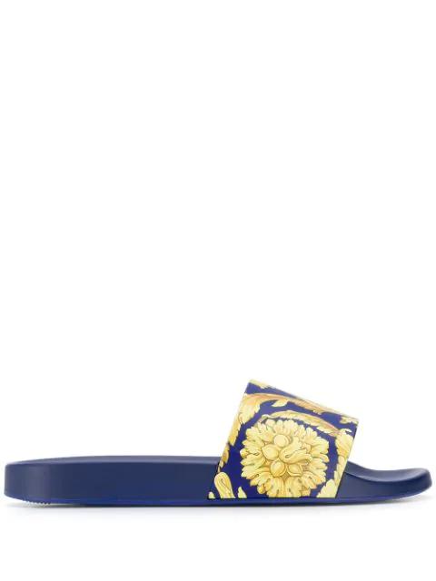 cb03dbd623 Gold Barocco Print Slides in Blue