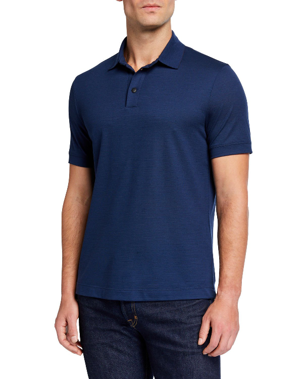 d037fc9e14 Men's Pure Wool Pique Polo Shirt, Blue