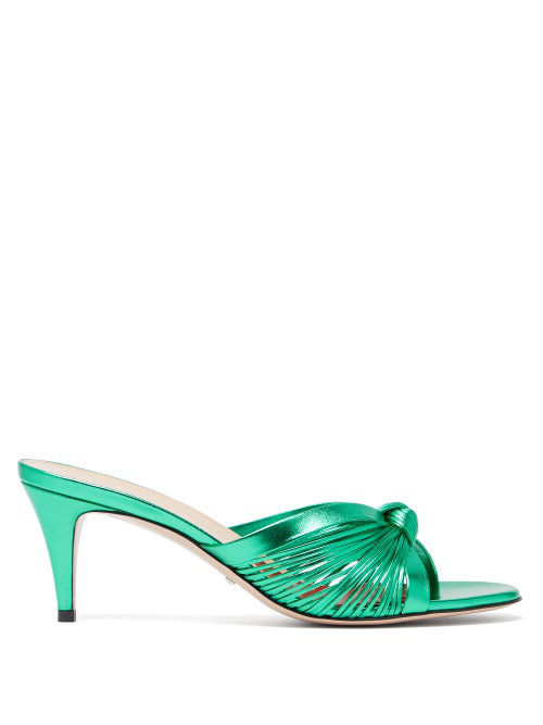 GUCCI KNOTTED METALLIC LEATHER MULES