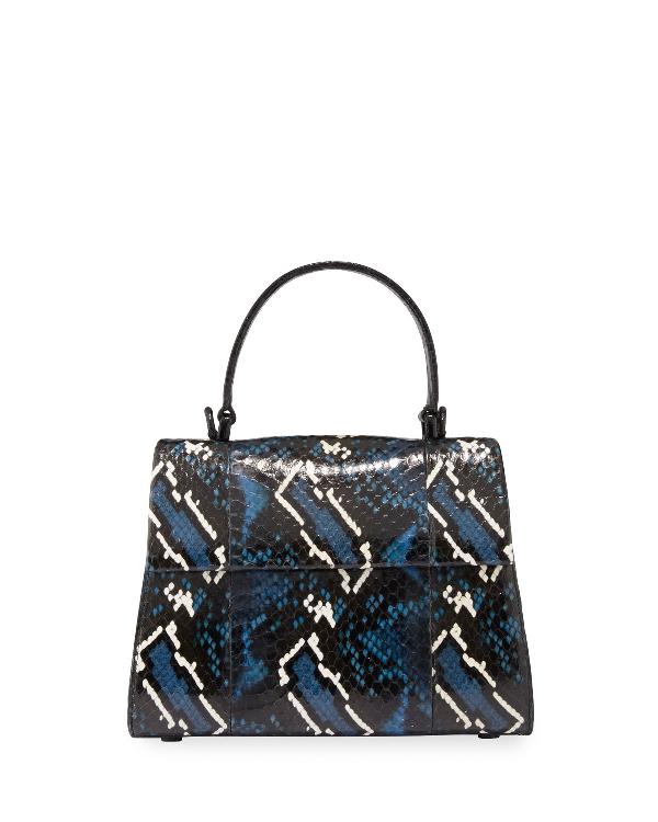 Nancy Gonzalez Lexi Small Snakeskin Top-Handle Bag In Dark Blue