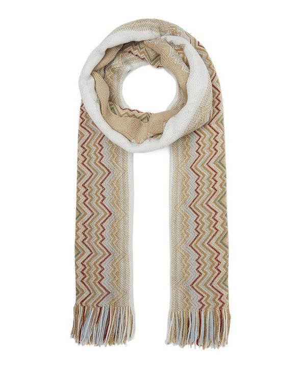93504b70b Missoni Knitted Zig-Zag Wool-Blend Scarf In Beige   ModeSens