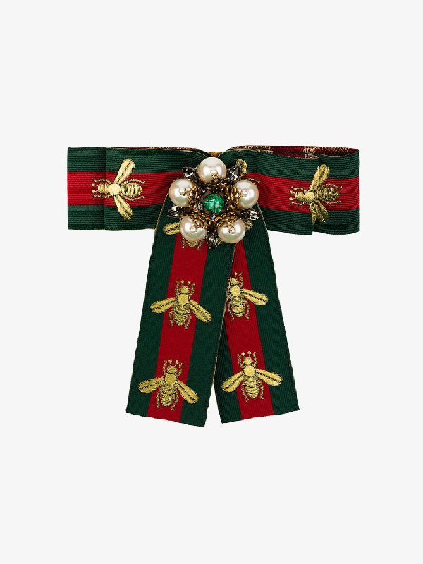 bee41494 Gucci Green, Red And Gold Web Bow Brooch