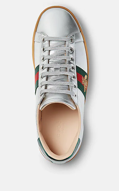 Gucci New Ace Metallic Leather Bee Thick-Sole Sneakers In Grey