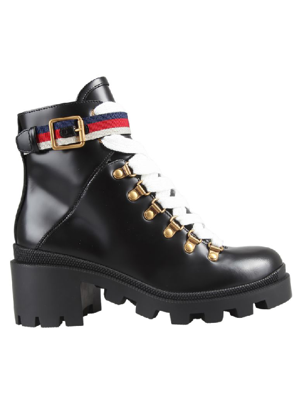 e51eb7a289d Grosgrain-Trimmed Leather Ankle Boots in 1159 Black