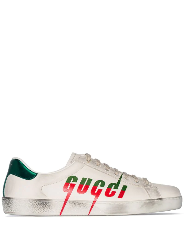 GUCCI GUCCI ACE LOGO PRINTED SNEAKERS - WHITE