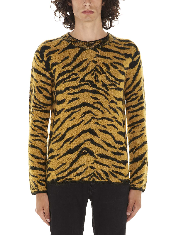 6d5688fa35 Wool Sweater With An Allover Zebra Jacquard in Yellow