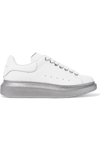 Alexander Mcqueen Leather Sneakers With Glitter Sole In White
