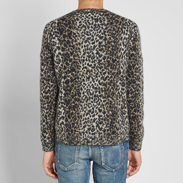 Saint Laurent Wool Sweater With An Allover Leopard Jacquard In Neutrals