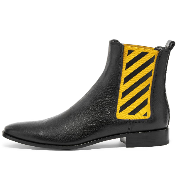 Off-White Men's Striped-Gore Leather Chelsea Boot In Black