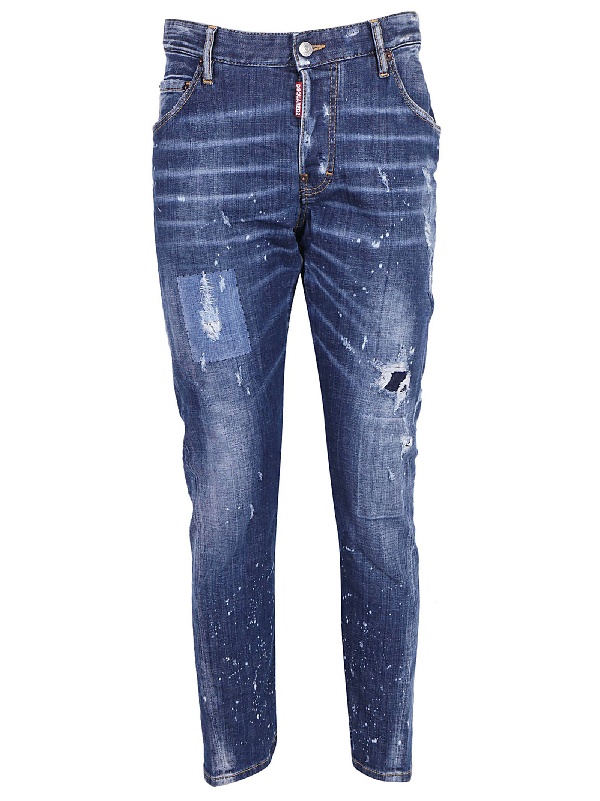 DSQUARED2 Kenny Twist Jeans Destroyed-Look blau