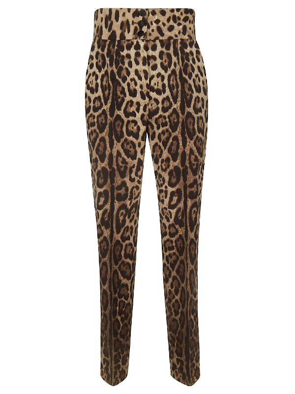 Dolce & Gabbana Leopard Print Trousers In Multicolor
