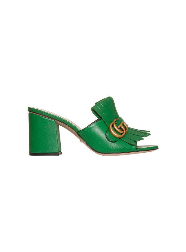 GUCCI LEATHER MID-HEEL SLIDE WITH DOUBLE G,11017794