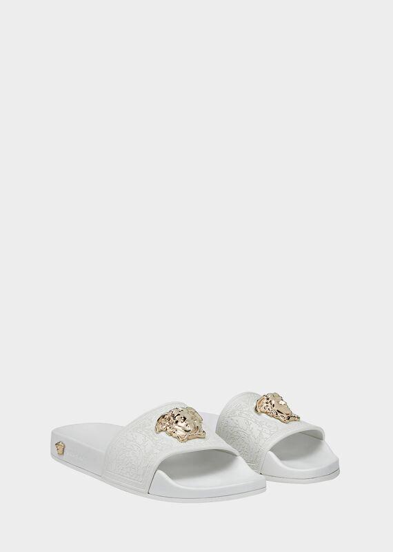 Versace Baroque Medusa Slides In White