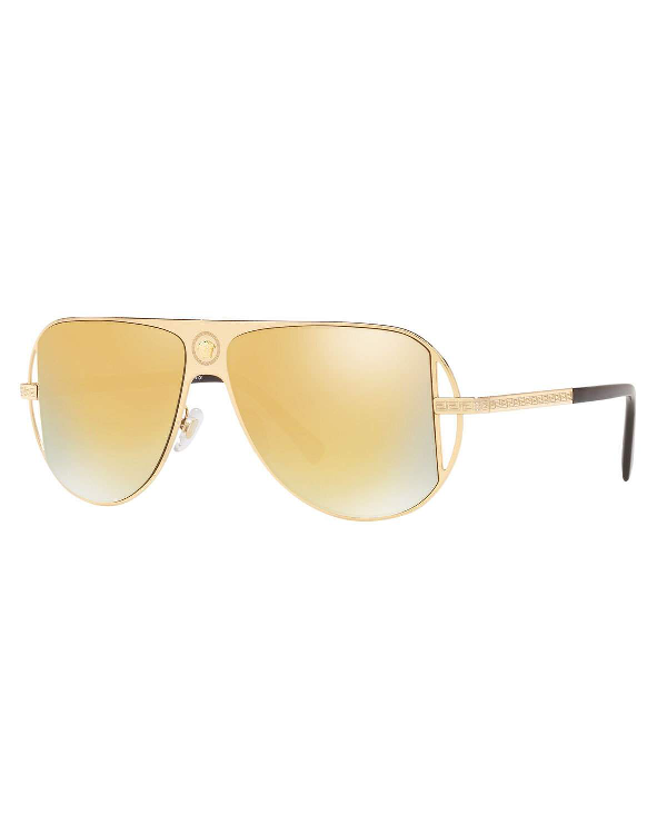 04cfaba0277c Versace Mirrored Aviator Sunglasses W/ Greek Key Arms In Gold | ModeSens
