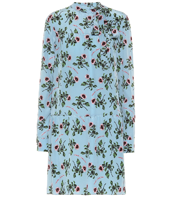 VALENTINO FLORAL SILK-CRÊPE DRESS,P00407866