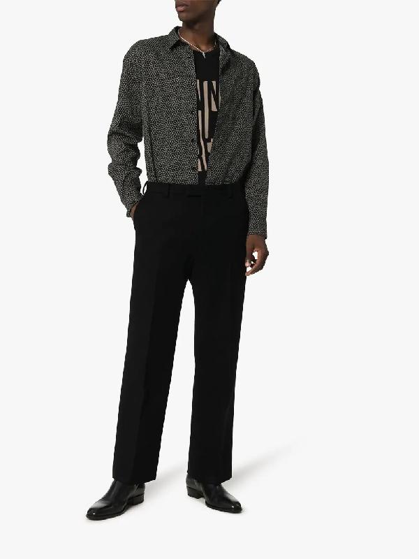 Saint Laurent Black Cotton T Shirt With Logo Print