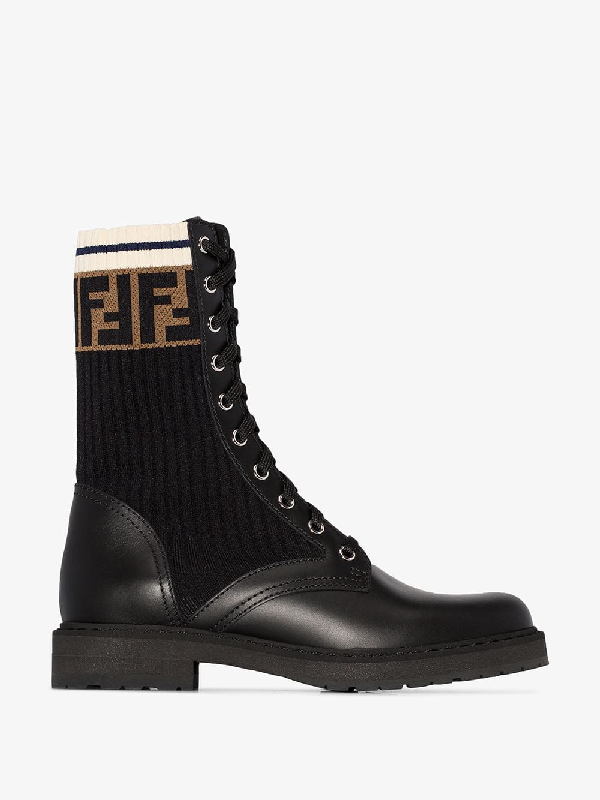 Fendi Rockoko Logo-Jacquard Stretch-Knit And Leather Ankle Boots In F13Mc-Black+Bl Tab.Black M