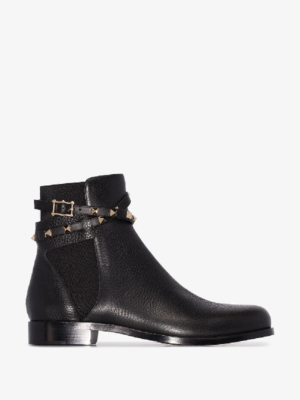 9c794bcff16 Rockstud Grained Leather Ankle Boots in Black