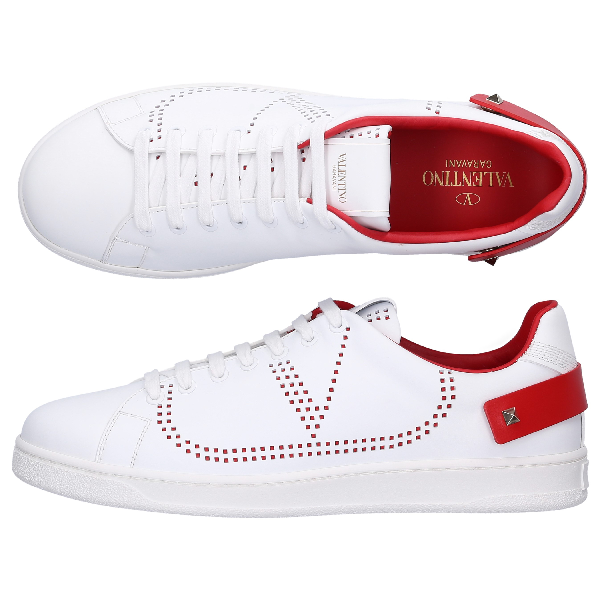 Valentino Backnet Vlogo Trainer Man Red Calfskin 100% 44.5 In White