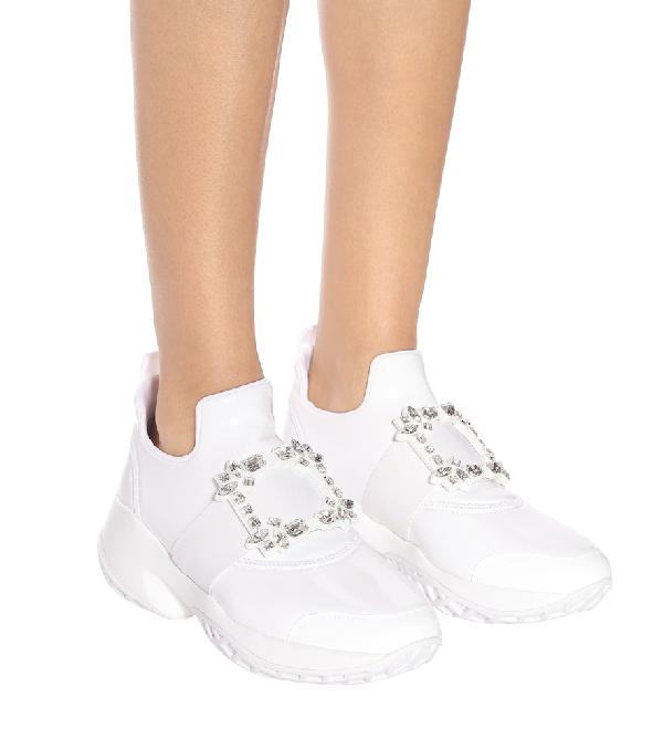 Roger Vivier Viv Run Crystal-Embellished Neoprene, Mesh And Leather Slip-On Sneakers In White