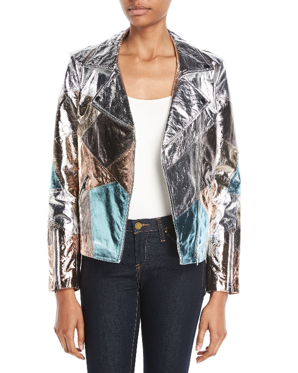 311597fd2 Patchwork Leather Moto Jacket in Multi Silver