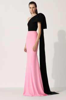 Alex Perry Anderson-Crepe Two-Tone One Shoulder Gown In Black/Pink