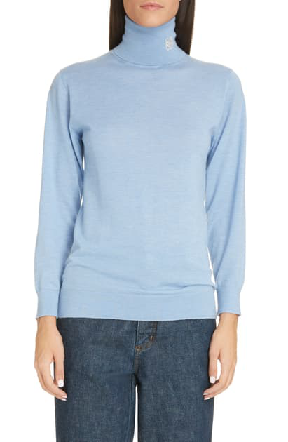 Logo embroidered Roll neck Cashmere Sweater In Light Blue
