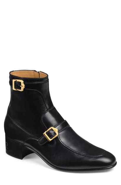 GUCCI EBAL DOUBLE BUCKLE BOOT,585856D3V00