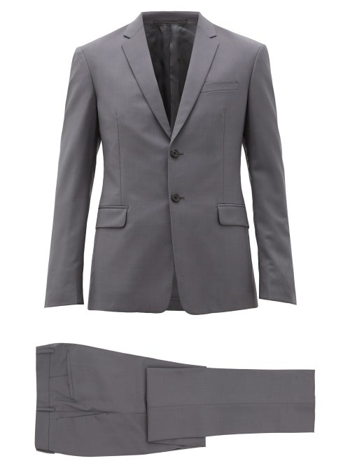 PRADA SINGLE BREASTED TWO PIECE WOOL BLEND SUIT