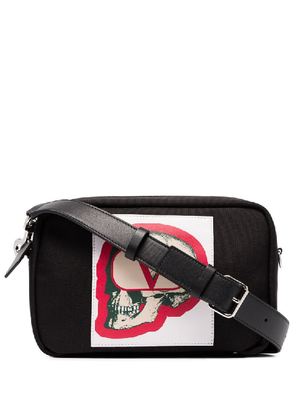 Men S V Logo With Undercover Skull Crossbody Bag In Black