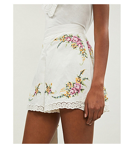 Zimmermann Allia Floral-Embroidered Linen And Cotton-Blend Shorts In Ivory