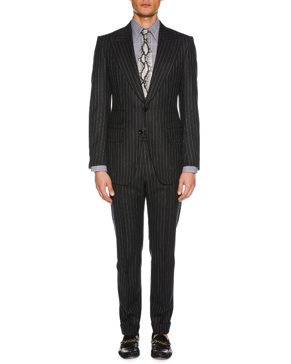 Tom Ford Men's Pinstriped Wool Two-Piece Suit In Dark Gray