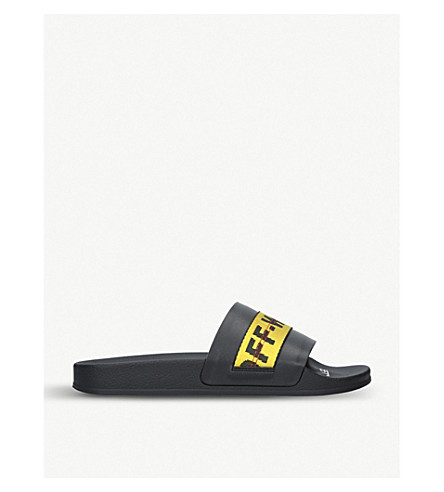 Off-White Men's Industrial Leather Slide Sandals In Black