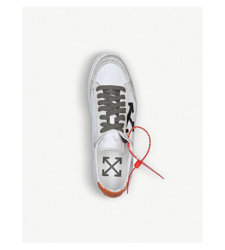 Off-White 2.0 Distressed Suede-Trimmed Leather Sneakers In White