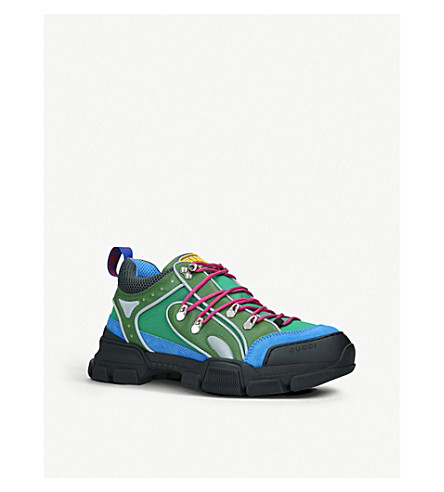 Gucci Flashtrek Reflective Leather, Suede And Mesh Sneakers In Blue
