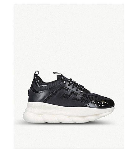 Versace Chain Reaction Mesh And Leather Trainers In Black
