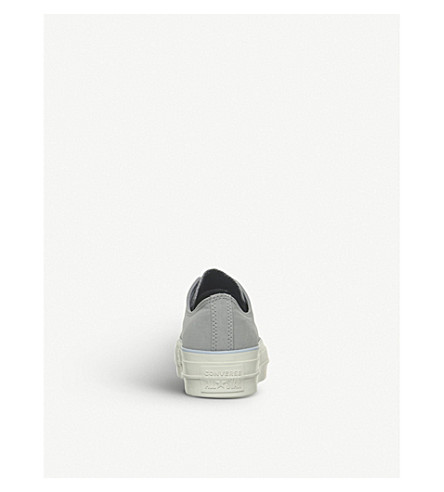 All Star Low Platform Leather Trainers in Dolphin Porpoise