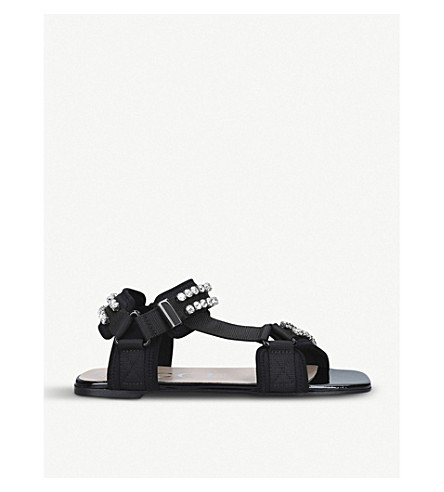 Gucci Shea Crystal-Embellished Canvas And Neoprene Sandals In Black Technical Canvas