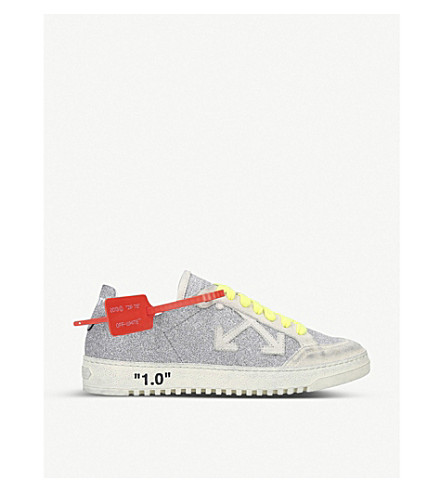 Off-White Off White | Glitter Arrow 2.0 Sneakers In Silver Calf Leather