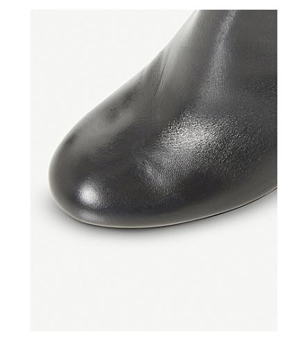 Dune Simonne Block Heel Knee High Boots, Black Leather at