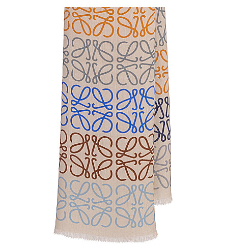 LOEWE ANAGRAM IN LINES CASHMERE WOOL AND SILK-BLEND SCARF