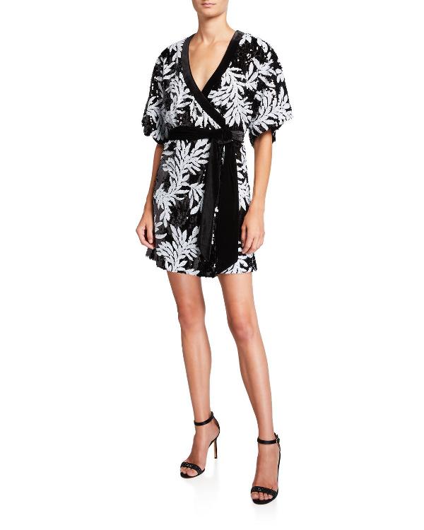 6b8ef123ac Lanai Sequin Floral Elbow-Sleeve Kimono Wrap Dress in Black Pattern