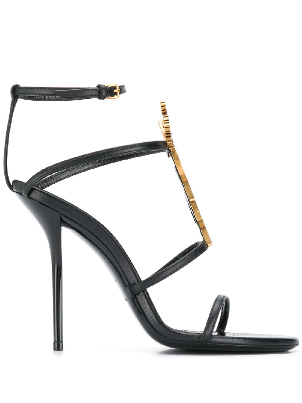 Saint Laurent Cassandra Sandals With Gold Logo In Smooth Leather (110) In Black