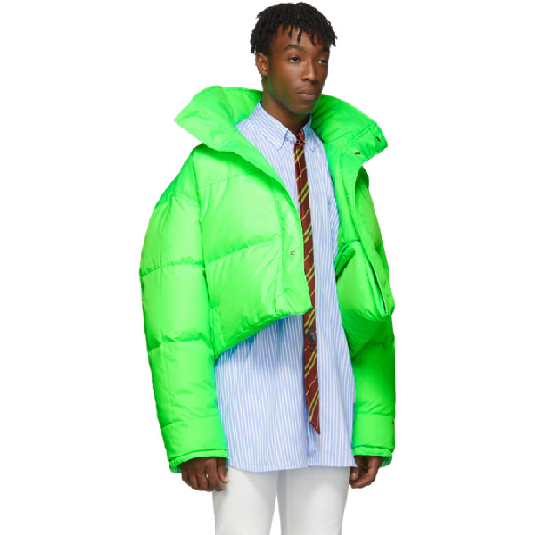 ae0c3db74 Vetements Reversible And Convertible Green Down Fluorescent Puffer Jacket  in Fluogreen